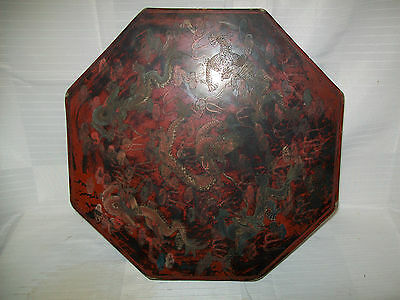 "Big 16"" Octagon Chinese Paper Mache Red Lacquer Box With Dragon Scrafitti"