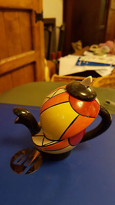Lorna Bailey small teapot signed red ltd edn 4/5  FREE P&P Excellent condition #