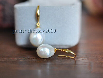 AAA 12-10mm South Sea White Baroque Pearl Earrings 14K YELLOW GOLD