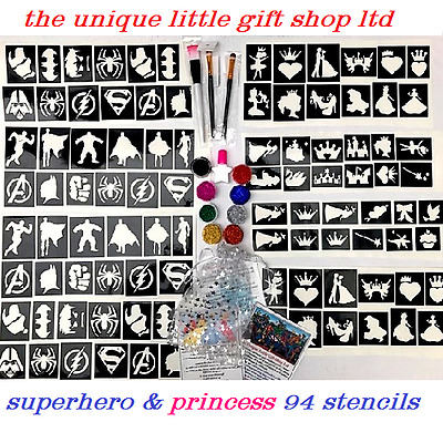 GLITTER TATTOO KIT Princess superhero 94 Large stencils 8 glitters glue brushes