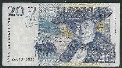 Sweden 1991(N/d) Twenty Kronor Banknote  Low Price & $1.00 Usa Ship