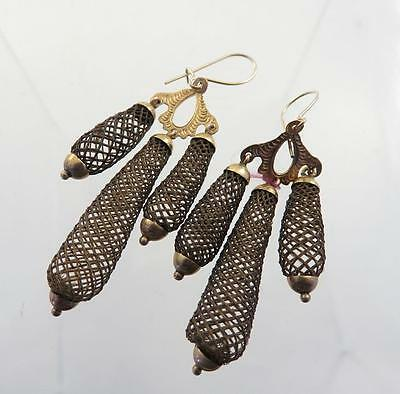 Rare Elaborate Victorian 14Kt Gold Hairwork Mourning Triple Drop Earrings