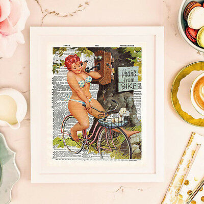Hilda biking, printed a vintage dictionary page. Size 8x10 inch. Not framed.