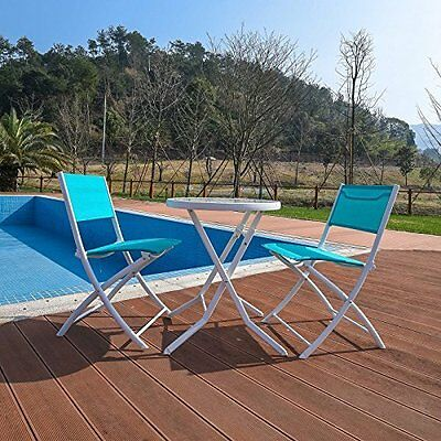 3 Piece Garden Seating Bistro Folding Table 2 Chair Patio Set Outdoor Furniture