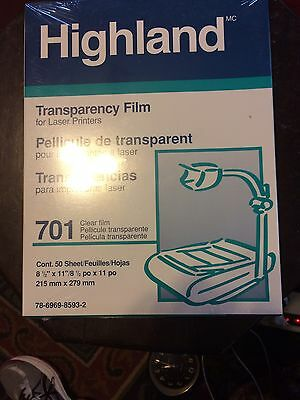 Highland 701 Computer Transparency Film For Laser Printer 50/ Box Nib Clear