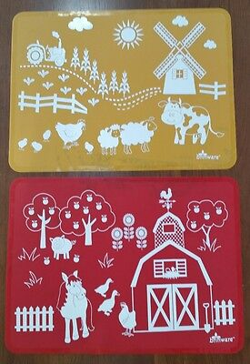 GUC Brinware Silicone Barnyard Friends Placemat Set - Red and Orange