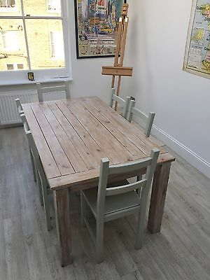 Solid oak wax finish dining table and 6 chairs