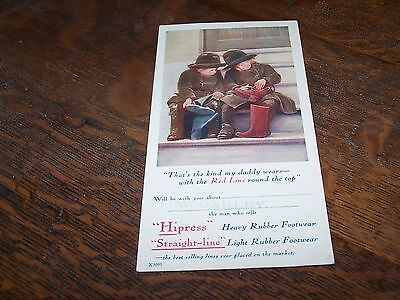 c1920s advertising card for BF Goodrich Hipress boots