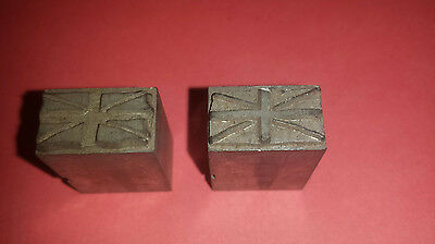 2 Letterpress Printing Blocks Union Jack Inner And Outer