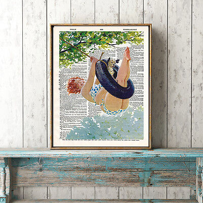 Hilda jumping. Illustration on vintage dictionary page. 8x10 inch, not framed.