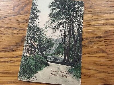 Old postcard of Carras Road. Skippers Bridge. Canmore. Scotland