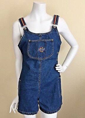 Vintage 80s Rainbow Denim SHORTALLS ROMPER Jumpsuit Blue Size Medium EUC
