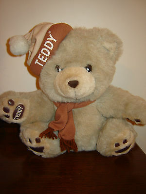 1980's Zellers Department Store Zeddy Teddy Stuffed Plush Bear w/Toque and Scarf