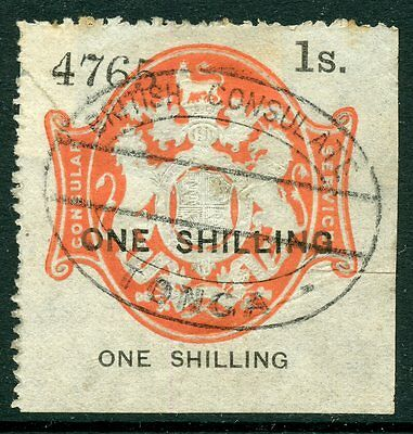 GB 1885 Consular Service Revenue USED IN TONGA 1/- one shilling red black