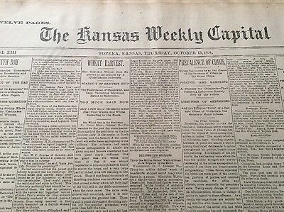 The Kansas Weekly Capital, Oct. 15, 1891 to Nov. 19, 1891 Antique Newspaper
