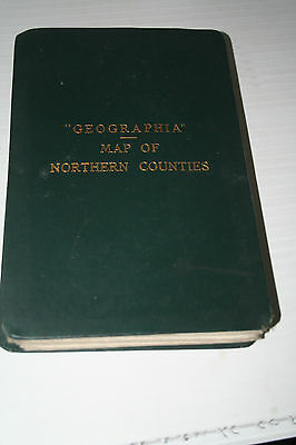 Vintage Cloth Geographia Bound Map Northern Counties Alexander Gross c1920