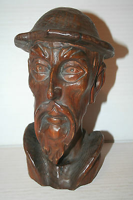 Antique Wooden Carved Head Bust