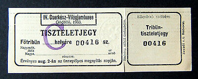 1933 world jamboree ticket for august 2 for the grand stand.