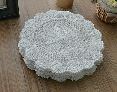 """Victorian White 10"""" Round Floral Crochet Lace Doily Wedding"""