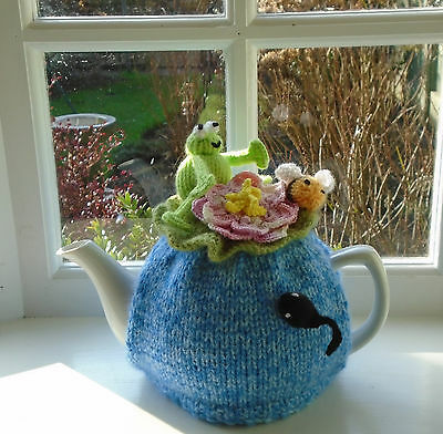 Hand Knitted Frog And Bee In The Lily Pond Tea Cosy For A Medium Teapot