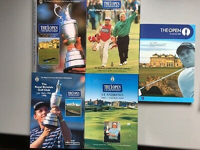 5 x The Open Golf Championship Official Programmes. 1995,96,98,2000 and 2005