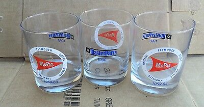 Vintage Set of 3 MOPAR Dodge Plymouth Chrysler Drinking Glasses