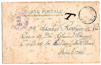 "Costa Rica 1902 stampless taxed ""T"" postcard from CURRIDABAT to San Jose"