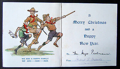 1937 Baden Powell postcard merry christmas scout rover