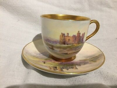 Finest Rare Royal Worcester  Coffee Cup & Saucer By Harry Davis