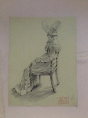 Victorian Period Costume  Drawing - John Hall 1921-2006 - Provenance Letter