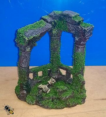 Aquarium Ornament Roman Ruins Columns Skull Moss Fish Tank Decoration New