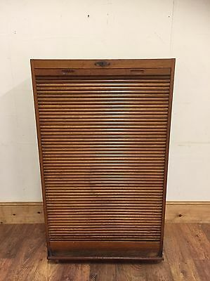 #83 Vintage 1930s French Tambour Fronted Filing Cabinet
