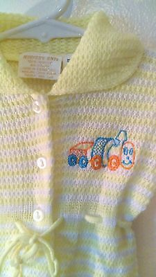 Vtg Baby Boy's Train Onesie - Yellow Knit One Piece Size 6-9 Mos Childs Vintage