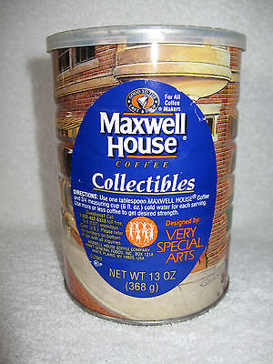 Maxwell House Coffee Collectible Tin Can w Plastic Lid 1994 Artist Randy Souders
