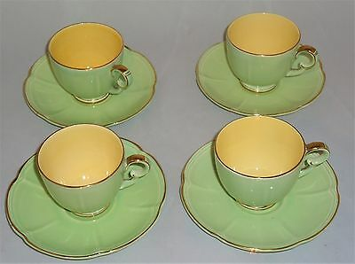 4 x VINTAGE CROWN DEVON FIELDINGS GREEN AND GILT CUPS AND SAUCERS
