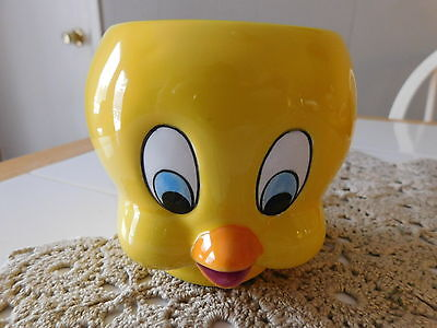 Looney Tunes Tweety Bird Face Bright Yellow Coffee Mug Cup