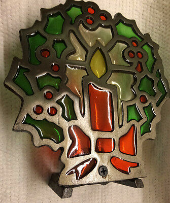Stained Glass and Metal Christmas Wreath Candle Holder from USA
