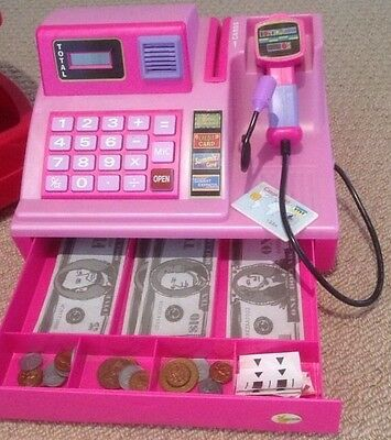 Toy Talking Cash Register Barcode Scan Money Notes and Coins