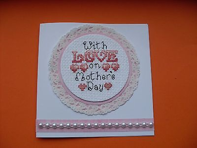 Hand Made Completed Cross Stitch Cards Mothers Day