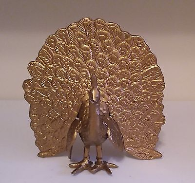 Vintage Gold Solid Brass Metal Peacock