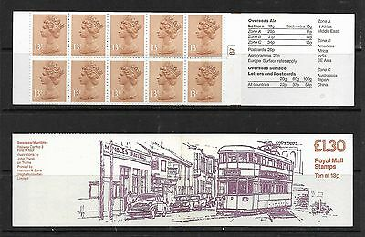 1984 Fl3 £1.30 Booklet Swansea Trams Right Selvedge Cylinder B7