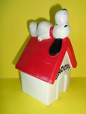 Vintage Snoopy Peanuts Money Box salvadanaio anni 80 cuccia dog house vintage