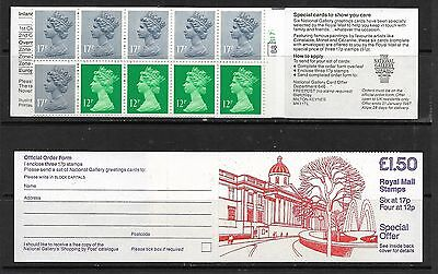 1986 Fp2 National Gallery £1.50 Booklet Right Selvedge Cylinder B8 B17