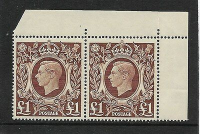 GEO VI 1939 £1 BROWN SG478c IN A MARGINAL PAIR NEVER HINGED MINT UNFOLDED