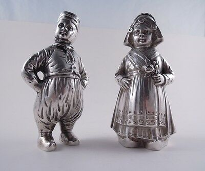 German 800 Silver Figural Pair Young Boy Girl Salt Pepper & Shakers Not Sterling