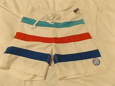 Men's NEW Ripcurl swim shorts red white blue stripe lined drawstring 30