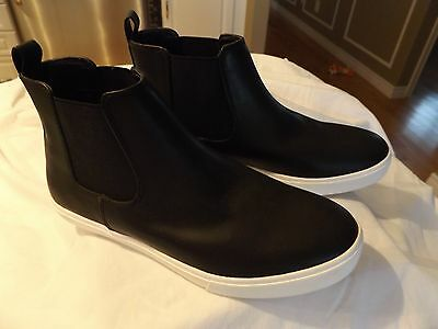 Men's H&M Divided black faux leather sneaker chelsea boot, NEW size 8