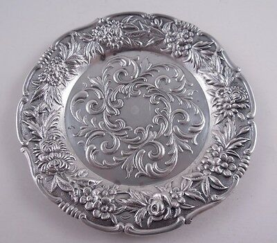 Kirk 27F Sterling Repousse Coaster Or Large Butter Pat Floral