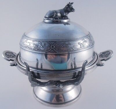 Reed & Barton Silverplate Butter Dish Figural Cow Racing Puttis W Insert