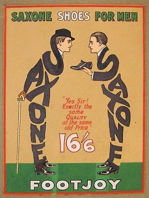 c1920 VINTAGE SAXONE MEN FOOTJOY SHOE ILLUSTRATION ART, RARE HANDPAINTED AD SIGN